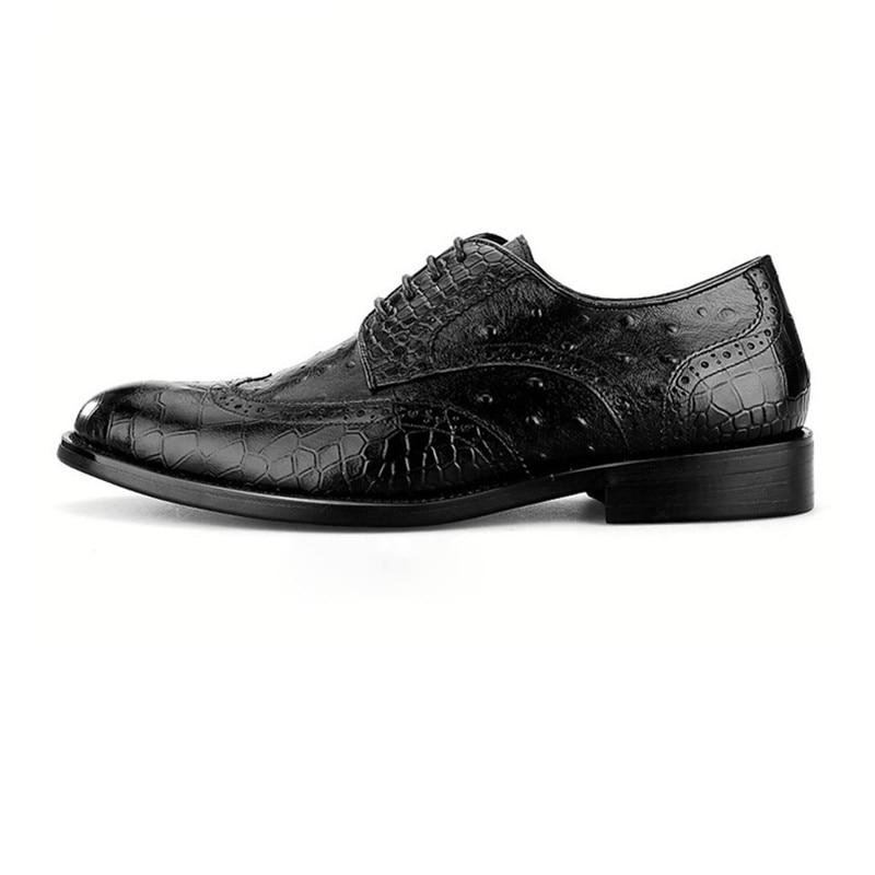 En Chaussures Crocodile brun Authentiques brown Black Mariage Hommes Grain Noir D'affaires Cuir Des Oxfords Mâle Marié Sociaux De wRRHSXg7q