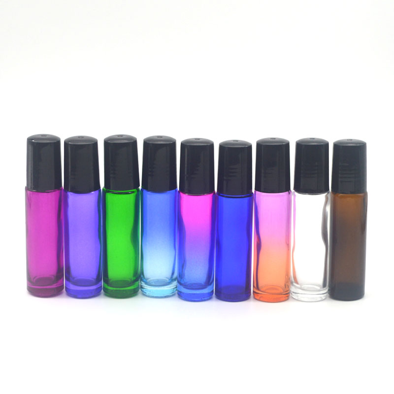 1pcs 10ml Colorful Thick Glass Vial Empty Essential Oil Perfume Roll On Bottle Stainless Steel Roller Bottle