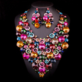 Luxury Gold Plated Pink Crystal Rhinestone Bridal Jewelry Set For Brides Necklace Earring Wedding Party Accessories L0011152