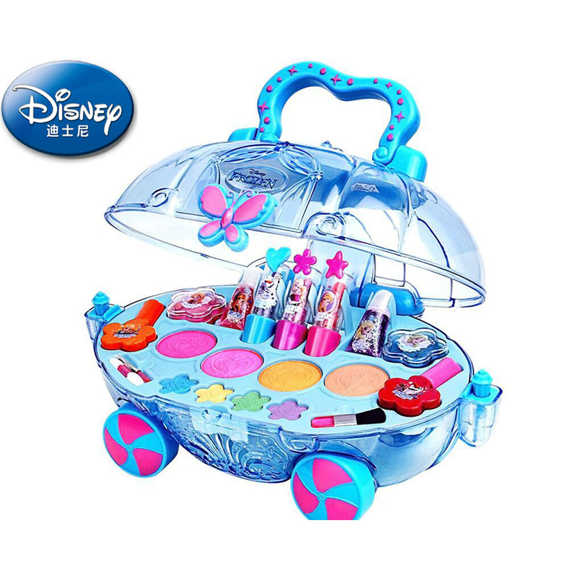 Disney Frozen elsa and anna Makeup car set Fashion Toys girls water soluble Beauty pretend play for kids birthday gift