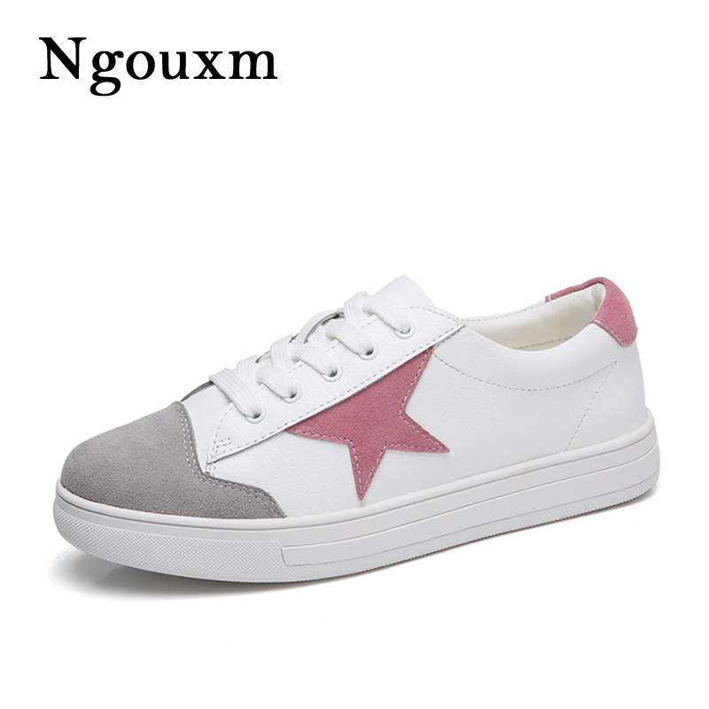 Ngouxm Spring Autumn Women Flas Leather Shoes Woman sneakers Fashion Flat Lace Up Comfortable Casual shoes For Women