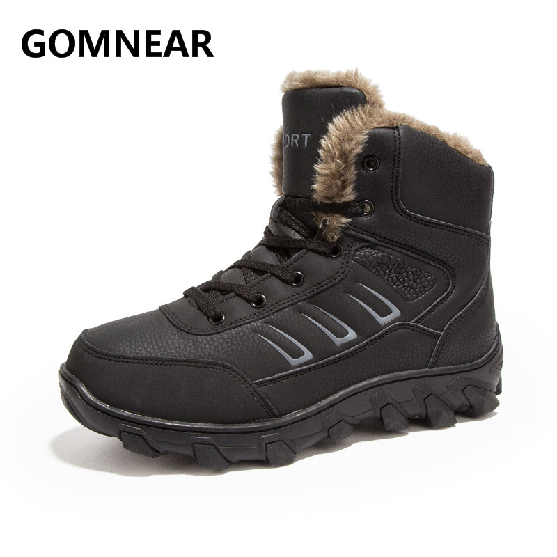 GOMNEAR New Arrival Winter Men Warming Fur Hiking Boots Outdoor Non-Slip Comfortable Sports Sneakers Big Size Men Hiking Shoes big size 46 men s winter sneakers plush ankle boots outdoor high top cotton boots hiking shoes men non slip work mountain shoes