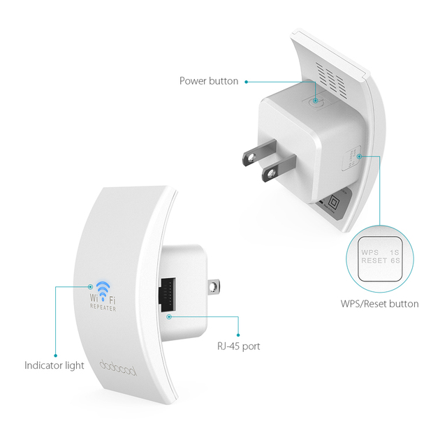 Wall Mounted Wireless Range Extender Signal Booster Support Access Point AP / Repeater Mode 2.4GHz 300Mbps with Antennas EU Plug