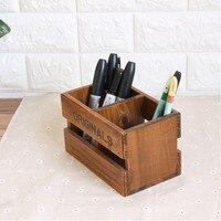 PINJEAS Vintage Home Decor Wooden Storage Boxes Bins Pencil Vase Desktop Storage Case Office Desk Organizer