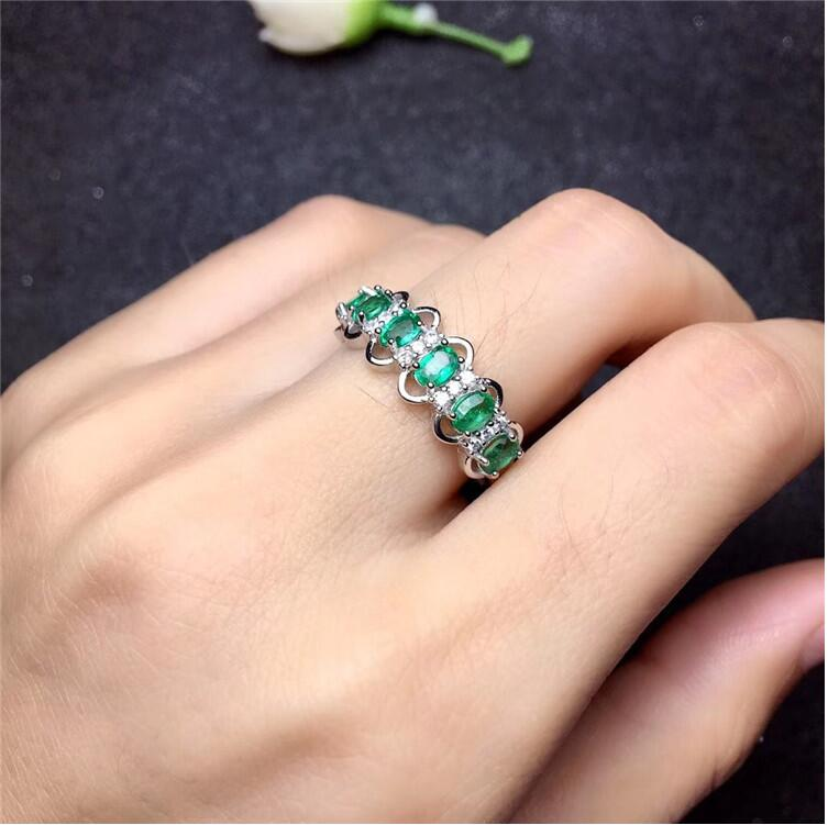 Emerald ring Real and natural Emerald 925 sterling silver Fine women jewelry 3*4mm 6pcs emerald ring free shipping natural real emerald 925 sterling silver 4 6mm fine jewelry