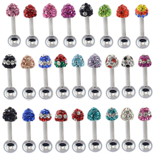 50 pcs/lot  1.2*6*4/4mm316l stainless steel bar and ball ear studs fancy crystal stud earring tree shape for girl and lady