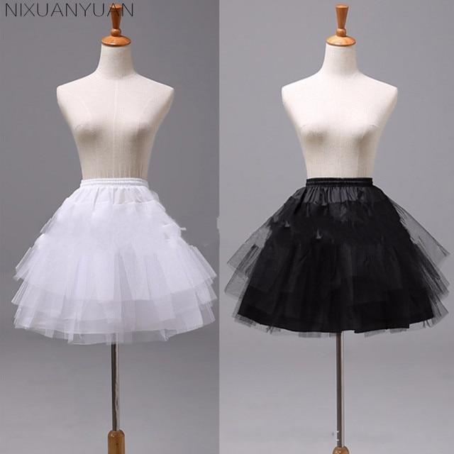 NIXUANYUAN White or Black Short Petticoats 2020 Women A Line 3 Layers Underskirt For Wedding Dress jupon cerceau mariage 2