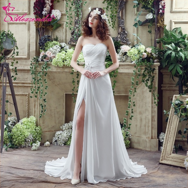 Alexzendra Stock Dresses Chiffon Pantai Wedding Dress Dengan Slit