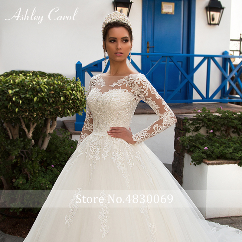 Image 4 - Ashley Carol Sexy Scoop With Jacket Long Sleeve Ball Gown Wedding Dresses 2019 Romantic Tulle Bride Dress Princess Wedding Gowns-in Wedding Dresses from Weddings & Events