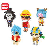 Full set 5pcs wise nano blocks action figures Anime one piece Luffy plastic building bricks diy funny educational toys for kid.