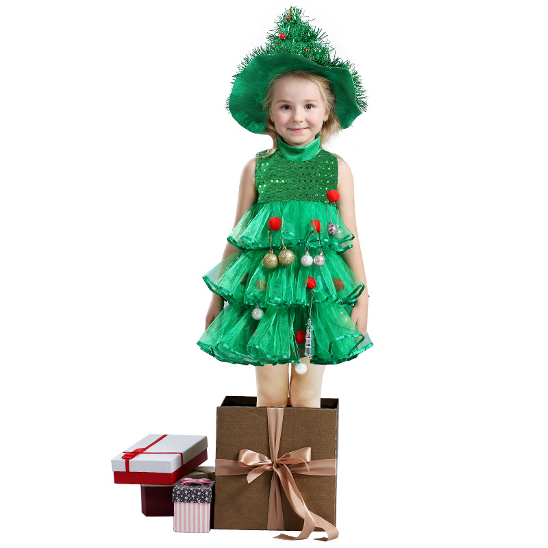 Kids Christmas Tree Costumes Princess party Dress for Girls Children moana Vaiana Dress Christmas New Year Performance Clothing купить дешево онлайн