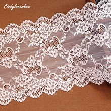 2Yards Stretch Elastic Lace Ribbon 20cm width cotton Apricot Trim Embroidered nigerian african Fabric Sewing Headband