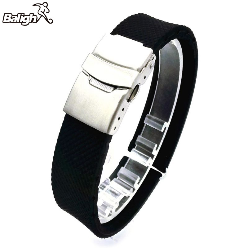 20-24mm Waterproof Silicone Rubber Watch Band Strap Straight End Bracelet Stainless Steel Double Click Folding Clasp Watchbands