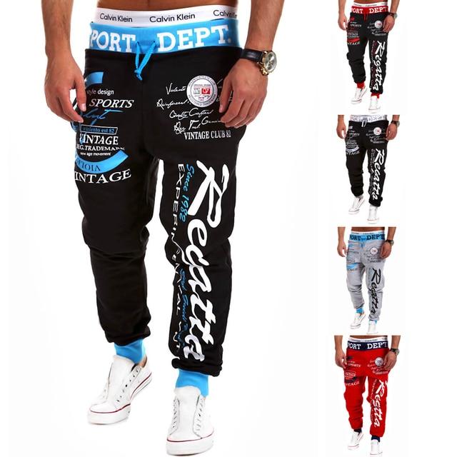 2015 New Mens Joggers Casual Pants Letter Printing Sweatpants Men Elastic Waist Loose Harem Pants Hip Hop Pants  Men's Trousers