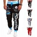 2015 Nuevos Mens Joggers Pantalones Casuales Carta Impresión Pantalón Hombres Cintura Elástica Sueltos Pantalones Harén Pantalones de Hip Hop de Los Hombres pantalones