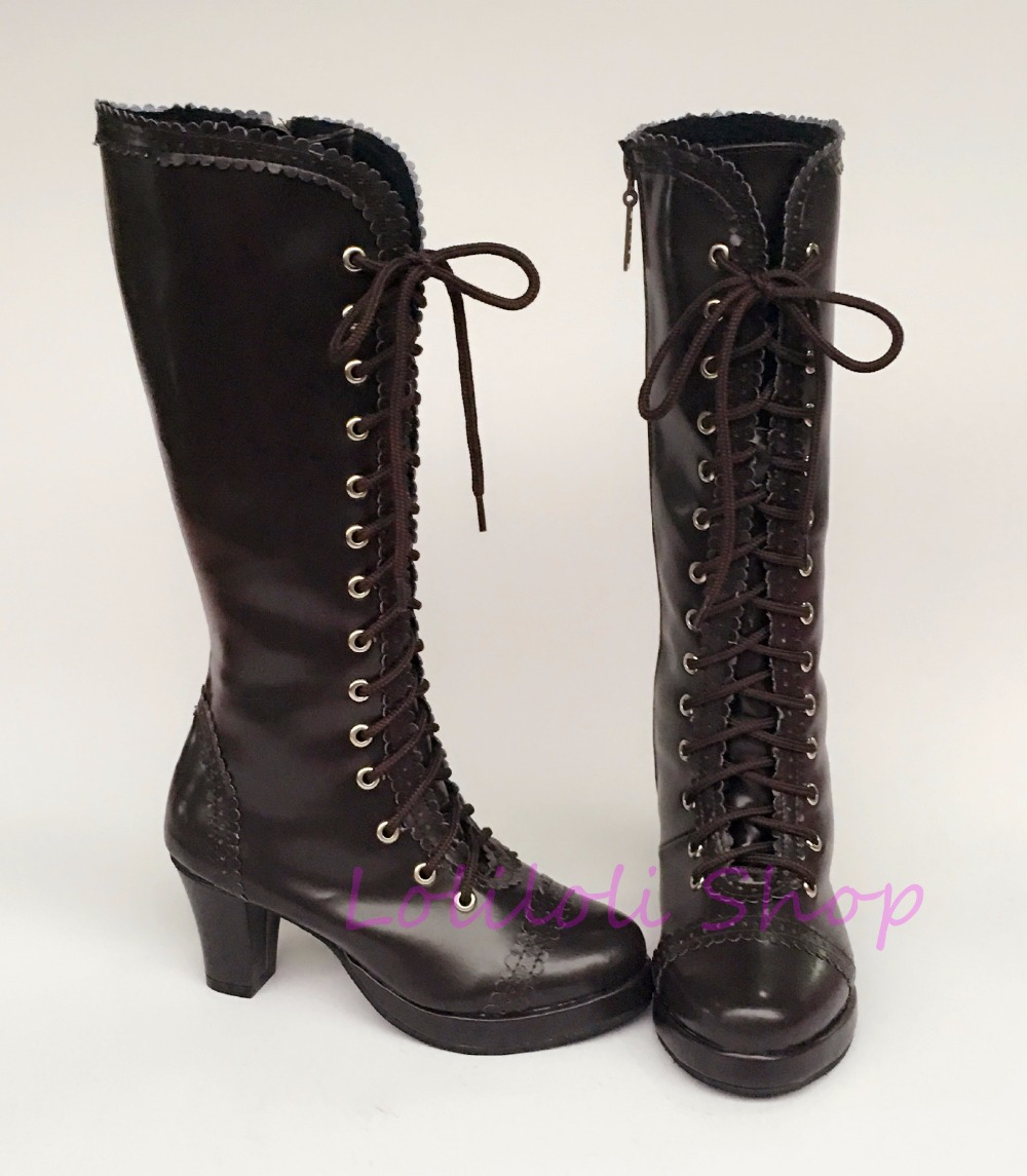 Princess sweet punk shoes loliloli yoyo Japanese design custom big size coffee bright skin lace-up knee-high boots 9963