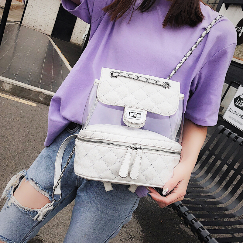 2018 New Cute Backpack For Teen Transparent Backpacks Quality PU leather Women Backpack Lattice Chain Shoulder bag School bags2018 New Cute Backpack For Teen Transparent Backpacks Quality PU leather Women Backpack Lattice Chain Shoulder bag School bags