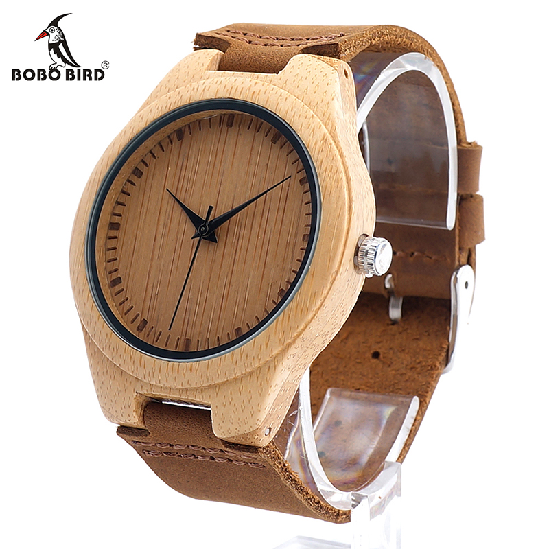 BOBO BIRD CbF18 Primitive Easy Match Quartz Wristwatches Leather Bamboo Wooden Watches for Men as Best