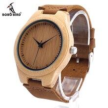Bobo bird f18 japonés miyota 2035 movimiento relojes de pulsera de cuero genuino relojes para hombres y mujeres mejores regalos de madera de bambú