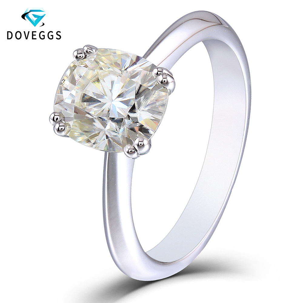 DovEggs 2ct carat 7*8mm Cushion Cut H Color Moissanite Diamond Engagement Rings For Women Platinum Plated Silver Solitaire Ring transgems platinum plated silver 2 15ctw 5x7mm h color cushion cut moissanite simulated diamond earrings for women