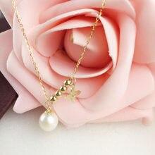 68968b4cca5f AINUOSHI 18 K oro amarillo pulsera de perlas naturales de agua dulce pulsera  de cuentas de cuatro hojas dama regalo de aniversar.
