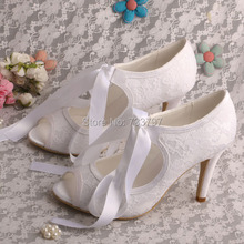 "Wedopusผู้หญิงสีขาวP Eep Toeลูกไม้ขึ้น3.5 ""รองเท้าส้นสูงปั๊มรองเท้าแต่งงานลูกไม้"