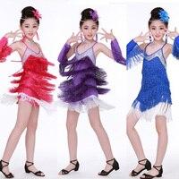 Sequined Girls Ballroom Tassels Latin Dancing dress Kids Performance dress ice skating dresses for girls kleid ballroom frauen