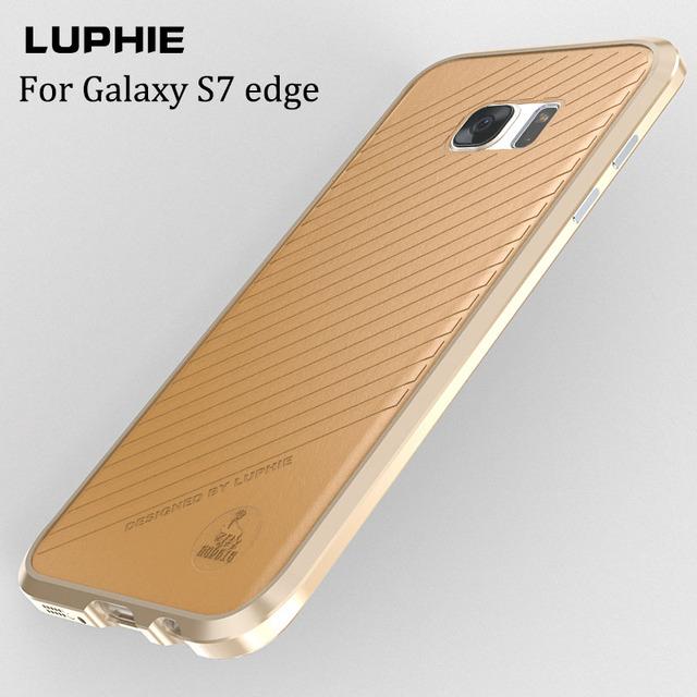 Novo noble luxo no vidro traseiro para samsung galaxy s7 edge alumínio caso para samsung s7 edge sm-9350 9350f metal carros case couro