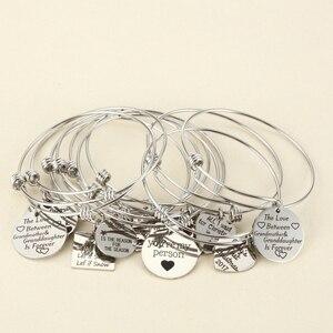 Image 1 - 10 יחידות אקראי קסמי צמיד עם צלחת/לב מתכוונן להארכה צמיד יד חותם חיובי השראה ציטוט קאף צמיד