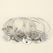 10pcs Random Charms Bracelet with Plate/Heart Adjustable Extendable Bangle Hand imprint Positive Inspirational Quote Cuff Bangle