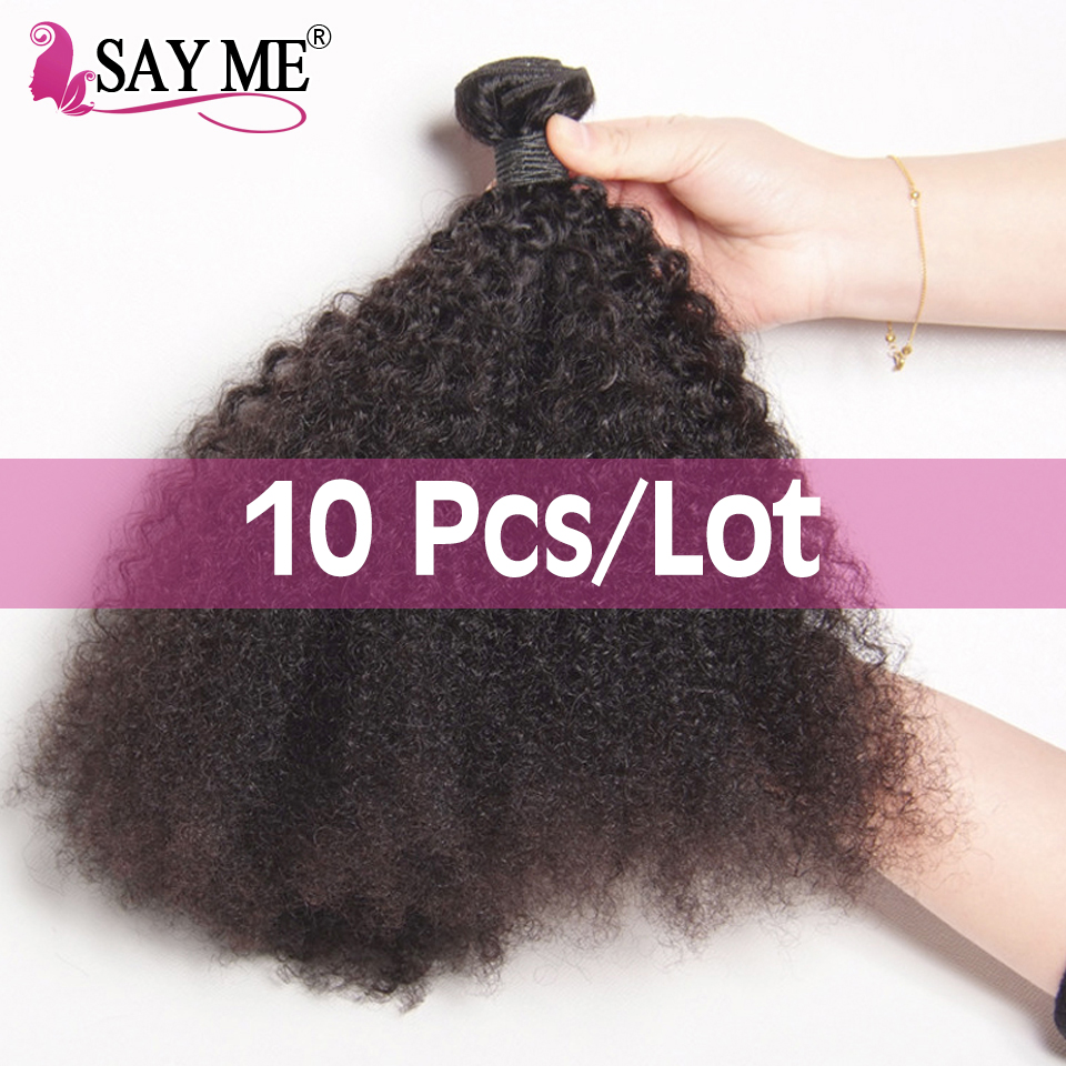 Wholesale <font><b>10</b></font> Bundles /Lot Mongolian Afro Kinky Curly <font><b>Hair</b></font> Weave Human <font><b>Hair</b></font> Bundles Extension Natural Black 8-22inch Remy <font><b>Hair</b></font> image