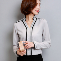 New 2017 Fashion Casual V Neck Long Sleeved Women Blouse Elegant Chiffon Shirt Plus Size Women