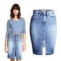 Venta caliente 2017 nuevo verano vintage washed denim falda de cintura alta mujeres vaqueros entrepierna faldas mujer chicas sexy falda