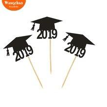 5pcs/bag Graduation 2019 Caps Cake Topper Cupcake Decoration Happy Bachelor Ceremony Party Supplies
