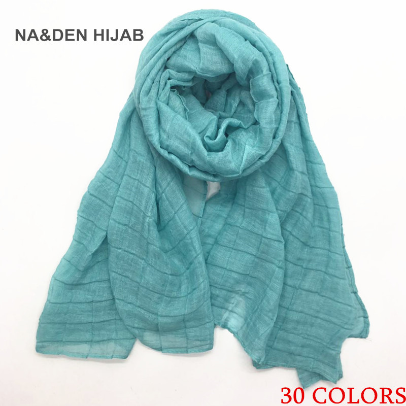 1PCS Hot Sale Elastic Scarf Embossed Grid Shawl For Women Solid Scarfs Soft Viscose Lady Muslim Hijabs Fashion Scarves Fast Ship