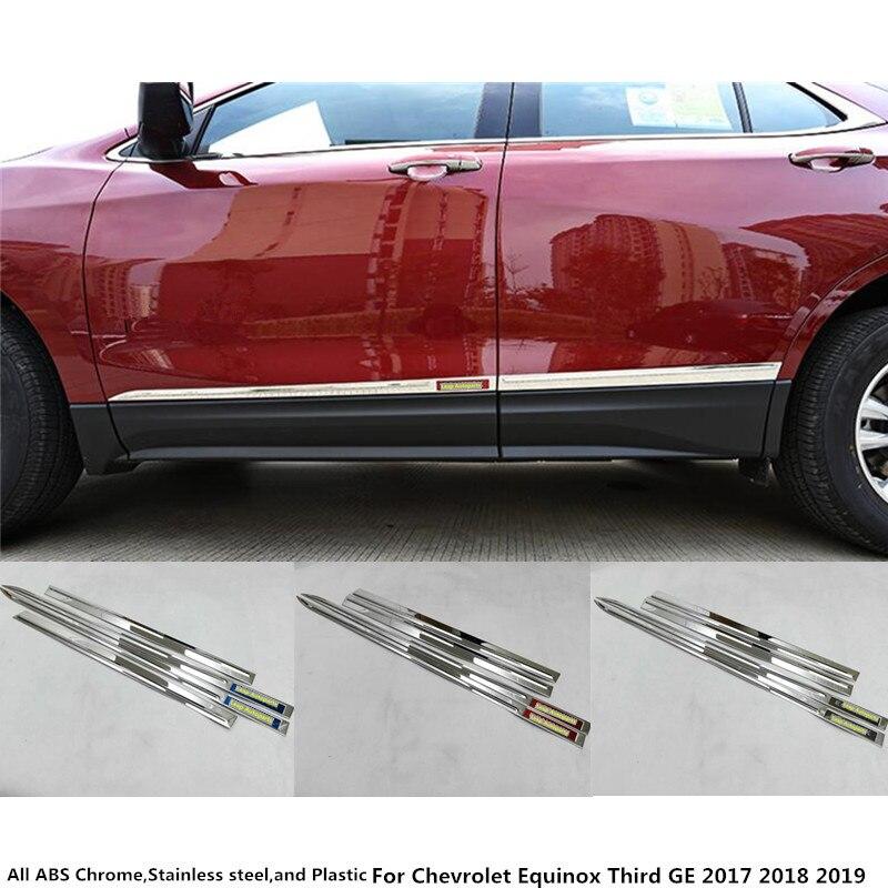 Car Stainless steel Side Door trim Strip Molding Stream lamp panel bumper 4pcs For Chevrolet Equinox Third GE 2017 2018 2019