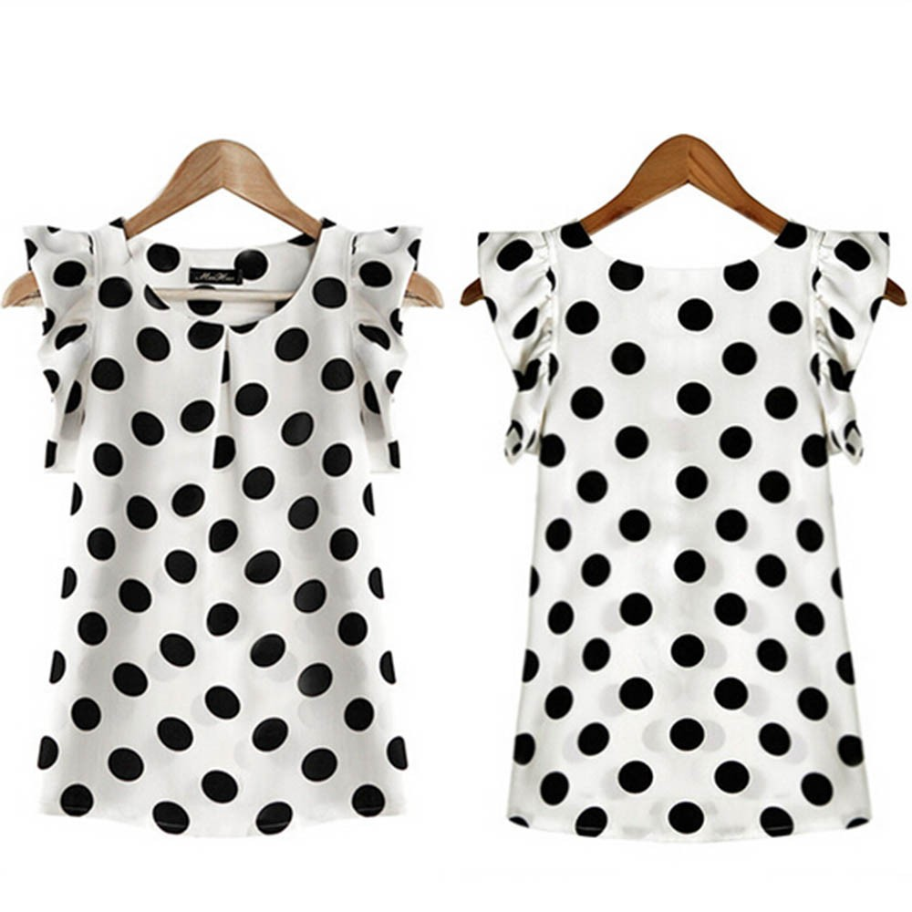 HTB1dWw2c56guuRjy1Xdq6yAwpXaQ - Fashion  Girl Dots Blouse Women Casual Chiffon Shirt Sleeveless Ruffle Sleeve Shirt Summer Tops Black White