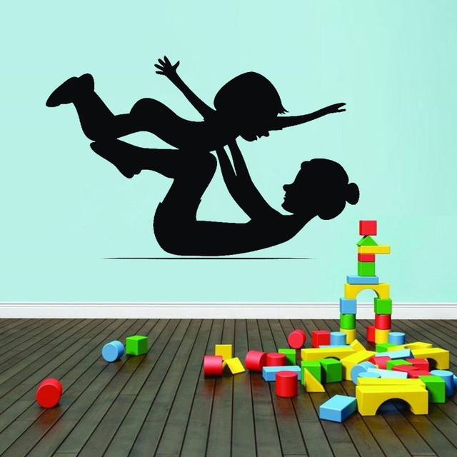 Mother And Baby Gymnastics Wall Sticker Art Wall Decals For Baby Kids  Nursery Bedroom Sport Room