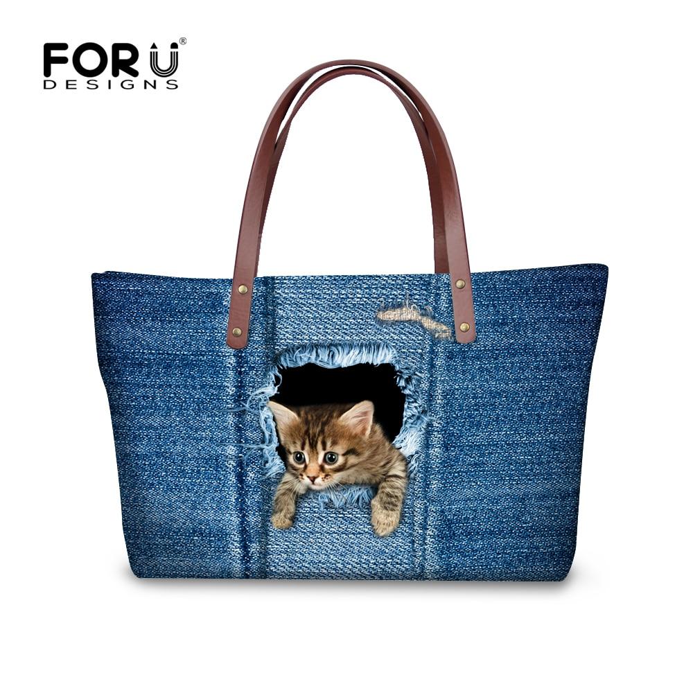 Denim Kedi Köpek Kadın Çanta, Kadınlar için Leopar Omuz - Çanta