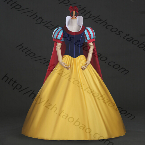 Free shipping Snow White Adult female costume Dexlue A Line Ball Gown Dress Snow White Cosplay Free petticoat