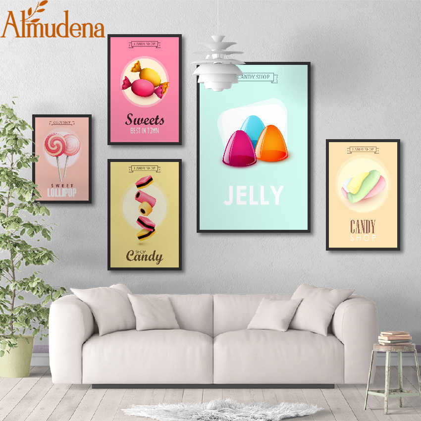 ALMUDENA Fantasy Fresh Cute Pink Ice Cream Candy Decorative Painting for Coffee Shop Wall Art Picture Modular Canvas Poster
