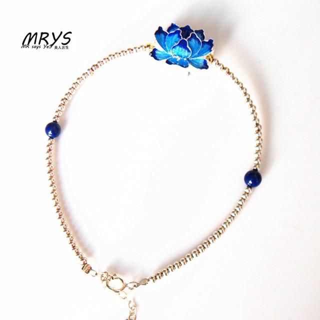 Blue Lotus Flower Bracelet Lapis Lazuli 925 Sterling Silver Beads
