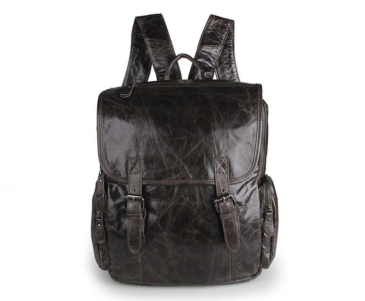 Nesitu Vintage Gray 100 Real Genuine Leather Men Women Backpacks Cowhide Travel Bags M7060