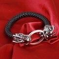 Высокое Качество Черный Плетеный Кожаный Браслет Китайский Дракон Браслет с Темно-Красный Глаз Мужчины Ювелирные Изделия Браслеты pulseira Bijoux
