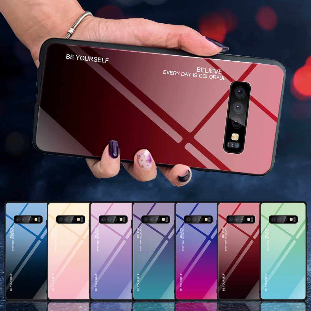 Caixa Do Telefone de Vidro temperado Para Samsung Galaxy S8 S9 S10 Plus S10E A10 A30 A50 M10 M20 M30 A5 A6 a7 A8 J4 J6 J8 2018 Aurora Capa