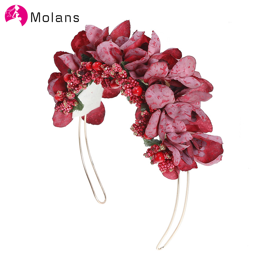 Molans Spring Autumn Floral Headband Simulation Solid Flower Headbands Gold Alloy Hair Band Photography Hair Accessories