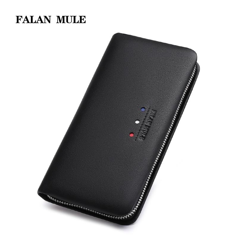 FALAN MULE fashion men wallets brand genuine leather long male zipper clutch purse England style wallet