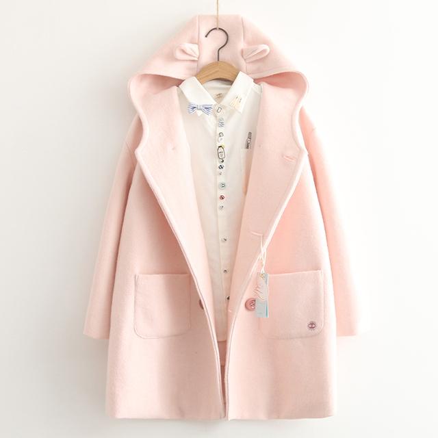 Otoño nueva colección japonesa lindo orejas de oso de las mujeres chaqueta de lana doble de pecho loose larga adelgaza el estilo preppy abrigo de mezclas