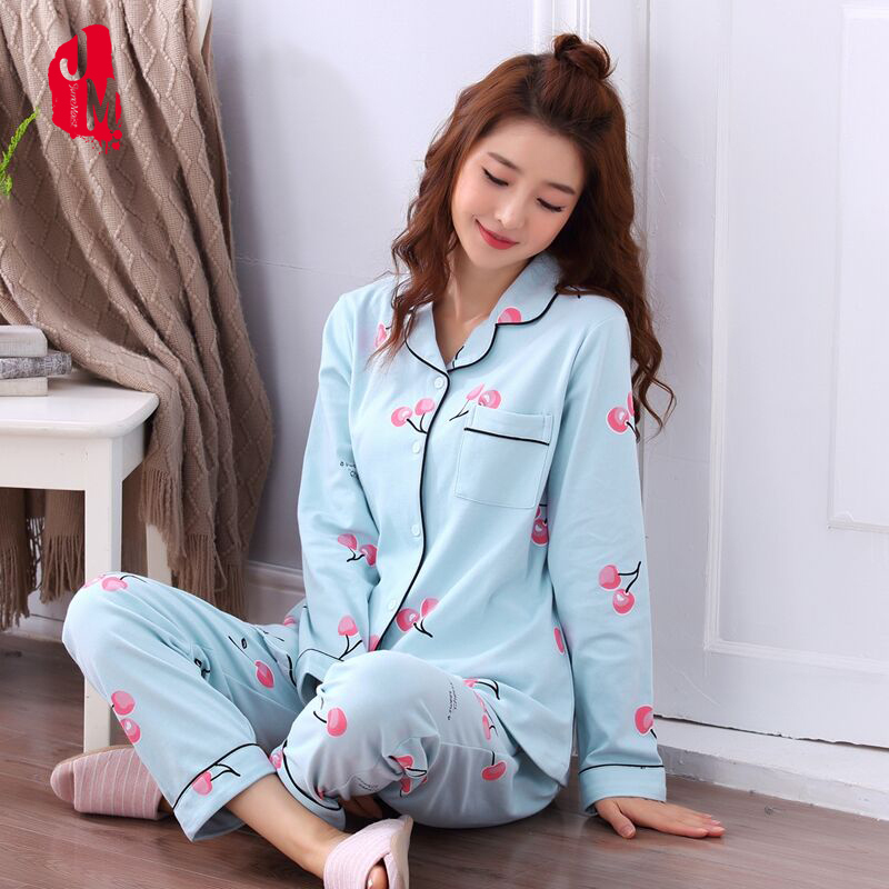 Autumn long Pijamas Women   Pajama     Sets   100% Cotton Sleepwear Long Sleeve Cute Animal Lounge   Set   Leisure Homewear Pijama M-XXL