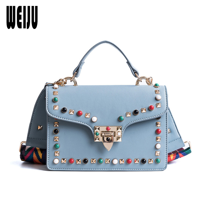WEIJU Brand 2018 New Women PU Leather Crossbody Bags Colorful Rivet Small Flag Wide Shoulder Strap Messenger Bags Satchel Bag genuine leather studded satchel bag women s 2016 saffiano cute small metal rivet trapeze shoulder crossbody bag handbag